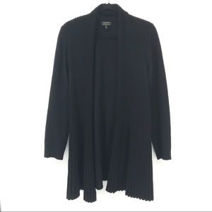 Charter Club Size 1X Black Ribbed Open Front Cardi